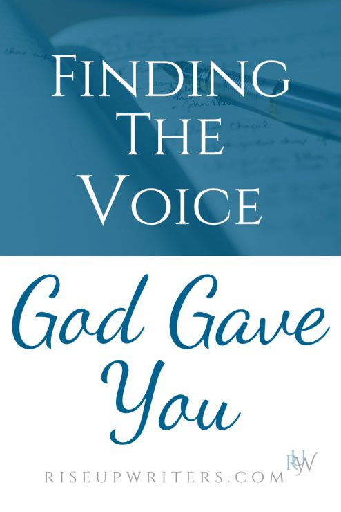 Finding your voice as a writer- the voice God gave you--is an organic, intimate process that takes place between you and your Creator.